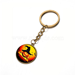 Alloy Keychain, with Glass, Flat Round with Halloween, Antique Bronze, 80x25mm