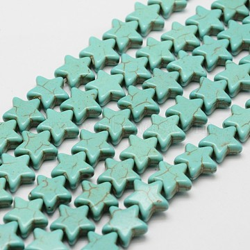 Synthetic Howlite Bead Strands, for DIY Jewelry Making, Dyed, Star, Dark Cyan, 11.5x11.5x4.5mm, Hole: 1mm; about 40pcs/strand, 15.9''(X-G-P228-13-12x12mm)