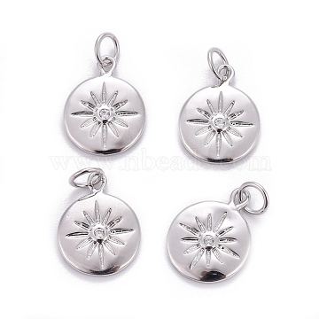 Brass Charms, with Cubic Zirconia, Flat Round with Sun, Clear, Platinum, 15x12x2mm, Hole: 3.5mm(X-ZIRC-L070-63P)