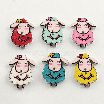 2-Hole Printed Wooden Buttons, Sheep, Mixed Color, 28x20x2.5mm, Hole: 2mm(X-BUTT-R031-108)