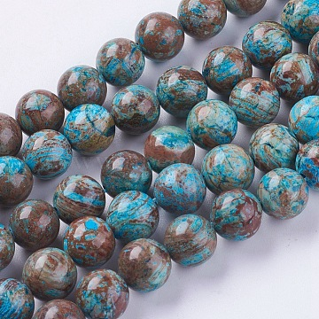 Gemstone Beads Strands, Natural Chrysocolla, Round, Dyed & Heated, Size: about 12mm in diameter, about 33pcs/strand(G-H1044-1)