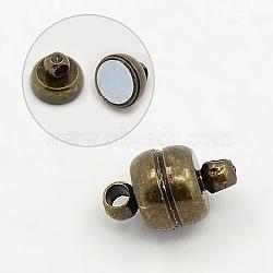 Fermoirs magnétiques en laiton, ovale, bronze antique, 11x7mm, Trou: 1.5mm(X-KK-H361-AB)