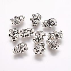 Perles alliage d'éléphants de style tibétain, argent antique, 8.5x12x4mm, Trou: 0.8mm