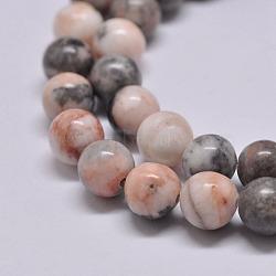 Natural Pink Zebra Jasper Beads Strands, Round, 8.5~9mm, Hole: 1mm; about 46pcs/strand, 15.2''(X-G-P231-01-8mm)