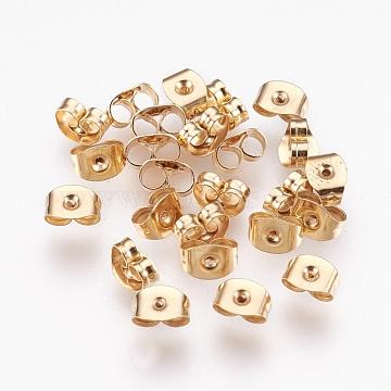 304 Stainless Steel Ear Nuts, Ear Locking Earring Backs for Post Stud Earrings, Golden, 3x6x4mm, Hole: 0.7mm(STAS-G176-01G)