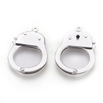 304 Stainless Steel Handcuffs Clasps, Stainless Steel Color, 38x26.5x4mm; Hole: 1.8mm; Inner Diameter: 17x19mm(STAS-F175-17P)