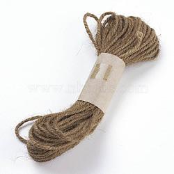 Corde de chanvre, chaîne de chanvre, ficelle de chanvre, pour la fabrication de bijoux, 3 pli, chameau, 2 mm; 10 cour / bundle, 30 pieds / paquet(OCOR-P009-A03)