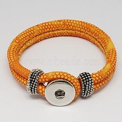 PU материалы кожаный браслет, с латунными снимками и фурнитурой сплавочной, оснастки браслеты, платина, оранжевые, 230x19 мм(X-AJEW-R023-09)