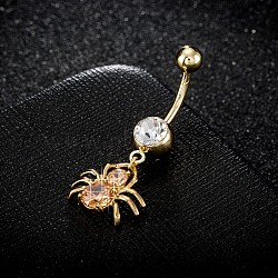 Piercing Jewelry, Environmental Brass Cubic Zirconia Navel Ring, Belly Rings, with Use Stainless Steel Findings, Real 18K Gold Plated, Spider, Orange, 38x16mm; Pin: 1.5mm(AJEW-EE0003-04E)