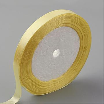 Single Face Satin Ribbon, Polyester Ribbon, LightYellow, 1/2inch(12mm); about 25yards/roll(22.86m/roll), 250yards/group(228.6m/group), 10rolls/group(RC12mmY010)