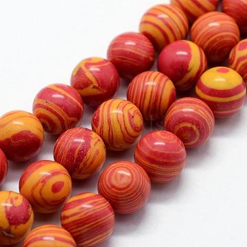 6mm OrangeRed Round Malachite Beads
