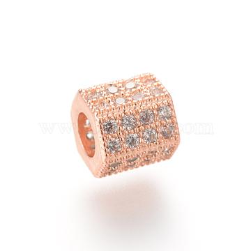 Brass Micro Pave Cubic Zirconia Beads, Hexagon, Rose Gold, 7x8x7mm, Hole: 4mm(X-ZIRC-S053-YS012-1)