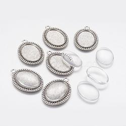 Поделки кулон материалы, с тибетским стилем подвески кабошона и стеклянными кабошонами, овальные, античное серебро, 37x26x2 мм, отверстие : 3 мм, лоток : 25x18 мм(DIY-X0292-07AS)