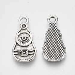 Supports de pendentif d'émail en alliage de style tibétain, sans plomb, Noël, bonhomme de neige, argent antique, 21x10x1mm, trou: 2 mm; environ 1040 pcs / 1000 g(TIBE-S314-72AS-LF)