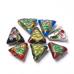 Handmade Cloisonne Beads, Triangle, Mixed Color, 13x13x6mm, Hole: 1.5mm(X-CLB-S006-10)