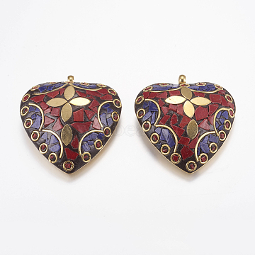 54mm Colorful Heart Polymer Clay Pendants