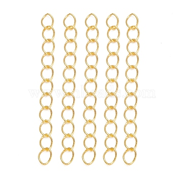 Iron Ends with Twist Chains, Golden, 45~55x3.5mm, Links: 5x3.5x0.8mm(CH-R001-G-5cm)