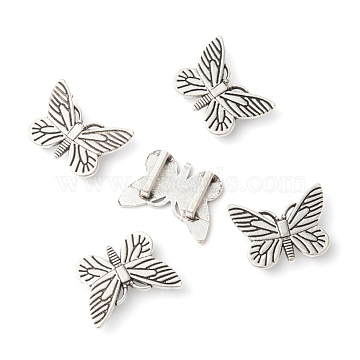 Antique Silver Plated Tibetan Style Butterfly Slide Charms, Cadmium Free & Nickel Free & Lead Free, 18x24x2mm, Hole: 10x2mm(X-TIBE-4818-AS-FF)