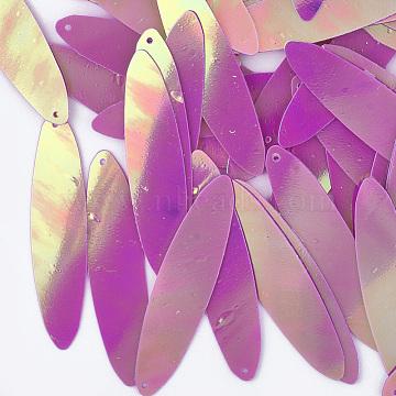 Ornament Accessories, PVC Plastic Paillette/Sequins Pendants, AB Color, Oval, Magenta, 40.5x10x0.3mm, Hole: 0.9mm; about 380pcs/50g(X-PVC-T003-04B)