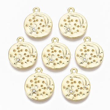 Alloy Pendants, with Crystal Rhinestone, Cadmium Free & Nickel Free & Lead Free, Flat Round with Moon & Star, Real 18K Gold Plated, 18x15x2mm, Hole: 1.5mm(PALLOY-S135-008-NR)