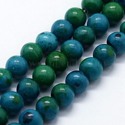 "Perles synthétiques chrysocolla brins, rond, 8mm, trou: 1mm; environ 46 pcs/chapelet, 14.76"" (37.5 cm)(G-I199-34-8mm)"