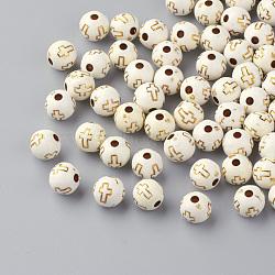 Perles acryliques plaquées, métal doré enlaça, ronde avec la croix, beige, 8mm, Trou: 2mm(X-PACR-Q113-01)