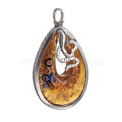 Gros pendentifs vernissées manuels, sable d'or et millefiori, avec les accessoires en alliage de ton d'argent antique, larme avec serpent, verge d'or, 74.5~75x42~43x13mm, Trou: 8x5mm(PALLOY-L225-D01-AS)