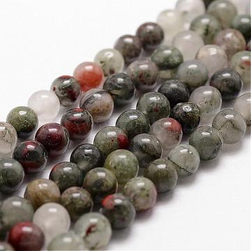 Natural African Bloodstone Beads Strands, Heliotrope Stone Beads, Round, 12mm, Hole: 1mm; about 31pcs/strand, 14.9''~15.1''(G-D840-66-12mm)