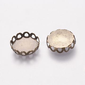 Brass Lace Edge Bezel Cups, Cabochon Settings, Cadmium Free & Lead Free, Flat Round, Antique Bronze, 12mm(X-KK-C1764-4-AB)