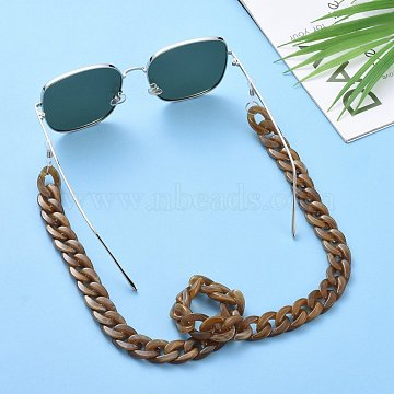 Eyeglasses Chains, Neck Strap for Eyeglasses, with Acrylic Curb Chains, 304 Stainless Steel Jump Rings and Rubber Loop Ends, Dark Goldenrod, 27.56 inches(70cm)(AJEW-AL0009-03)