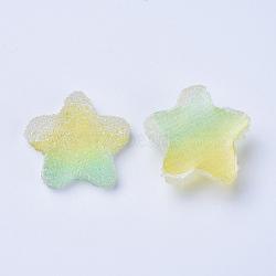 cabochons de résine, deux tons, étoiles, palegoldenrod, 17~17.5x17.5~18x6~6.5 mm(RESI-TAC0002-01E)