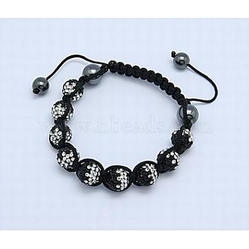 Fashion Bracelets, Disco Ball Mother's Day Gift, with Polymer Clay Mideast Rhinestone Beads, Hematite Beads and Nylon Cord, Black, 56mm Czekh Rhinestone(X-BJEW-B025-CK-14)