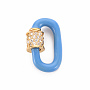 Real 16K Gold Plated Cornflower Blue Oval Brass+Cubic Zirconia Locking Carabiner(X-ZIRC-S067-068C-NR)