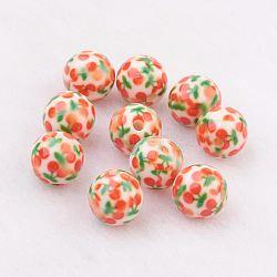 Perles en résine, avec motif de cerise, rond, orange, 10mm, Trou: 2mm(GLAA-F049-A14)
