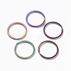 plaques sous vide 304 en acier inoxydable, conclusions de fermoir porte-clés, multicolore, 25x2 mm(X-STAS-L216-09B)