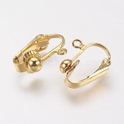 Brass Clip-on Earring Findings, Golden, 17x14x7mm, Hole: 1mm(X-KK-E491-G)