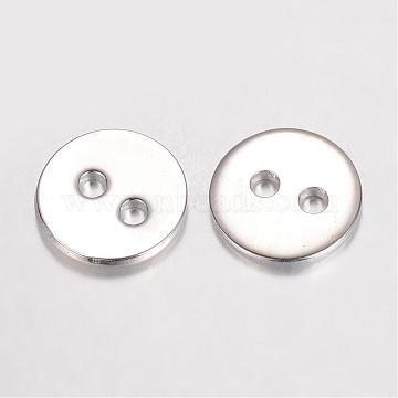 Brass Buttons, 2-Hole, Flat Round, Platinum, 12x1.2mm, Hole: 2mm(KK-D522-11P)