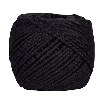 BENECREAT Cotton String Threads for Jewelry Making, Macrame Cord, Black, 4mm, about 109.36 yards(100m)/roll(OCOR-BC0012-E-03)