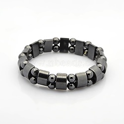 Magnetic Hematite Tow Row Rectangle and Round Beads Stretch Bracelets for Valentine's Day Gift,, 60mm