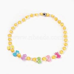 """Acryliques perles de colliers d'enfants, avec des perles en agate, bowknot & coeur & rond, jaune, 19.29"""" (49 cm)(NJEW-JN02235-02)"""