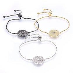 """Bracelets réglables en laiton à micro-pavé de zircons cubiques, Bracelets coulissants, plat et circulaire avec fleur, clair, couleur mixte, 10-1/4"""" (26cm); 1.2mm(BJEW-H583-04)"""