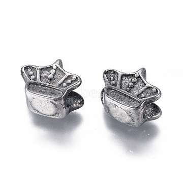 304 Stainless Steel European Beads, Large Hole Beads, Crown, Antique Silver, 10x12x8mm, Hole: 4~4.5mm(STAS-I120-90AS)
