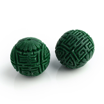 Handmade Cinnabar Beads, Carved Lacquerware, Round, DarkGreen, 16x15mm, Hole: 2mm(X-CARL-R002-15mm-04)