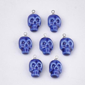 Handmade Porcelain Pendants, Bright Glazed Porcelain, with Brass Findings, Skull, Platinum, Blue, 18~19x10~10.5x5.5~6.5mm, Hole: 1.5mm(PORC-T002-94A)