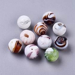 Handmade Lampwork Beads, Round, Mixed Color, 14mm, Hole: 1~2mm(X-LAMP-R111-M)