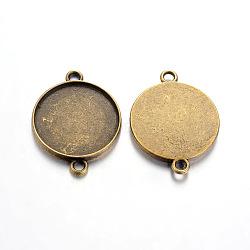 тибетского стиля кабошон параметры соединителя, чашки безель с краем, свинца и никеля бесплатно, плоские круглые, античная бронза, 29x22x2.5 mm, отверстия: 2 mm, лоток: 20 mm(TIBE-A124178-AB-FF)