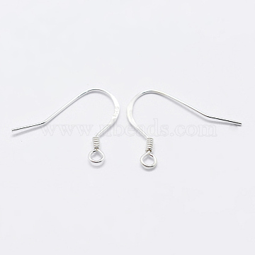 925 Sterling Silver Earring Hooks, Carved 925, Silver, 15x18x1.3mm, Hole: 1.5mm; Pin: 0.5mm(STER-K167-049B-S)