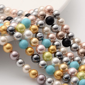 Shell Pearl Colorful Beads Strands, Round, Grade AB, Mixed Color, 6mm, Hole: 0.8mm, about 29~30pcs/strand, 8.2inches(21cm)(BSHE-F013-14M-6mm)
