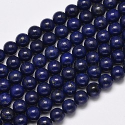 Dyed Natural Grade AA Lapis Lazuli Round Bead Strands, 8mm, Hole: 1mm; about 48pcs/strand, 15.5