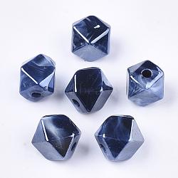 Perles acryliques, style de pierres fines imitation, deux tons, nacré, polygone, darkblue, 12x14x14mm, Trou: 2.5mm(X-OACR-S030-03A)